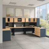 Bush Business Furniture Series A 2-Person Workstation with Corner Desks, Hutches & Storage