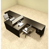 Two Person L Shaped Divider Workstation Desk Set