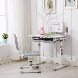 Mecor Children's Desk and Chair Set, Height Adjustable with Light