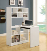 Monarch Specialties Left or Right Facing Corner Desk and Shelf Combo