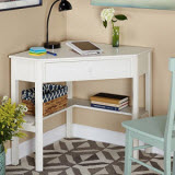 Simple Living Wood Corner Desk with Drawer and Shelf