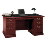Bush Furniture Saratoga Executive Home Office Wood Manager's Desk in Cherry
