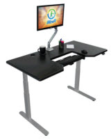Lander Electric Adjustable Height Sit Stand Desk with Negative Tilt Keyboard Tray