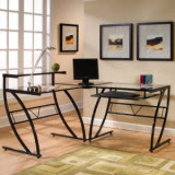 Z-Line Belaire Glass L-Shaped Desk