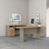 Bush Business Furniture Series A U Shaped Corner Desk with Peninsula